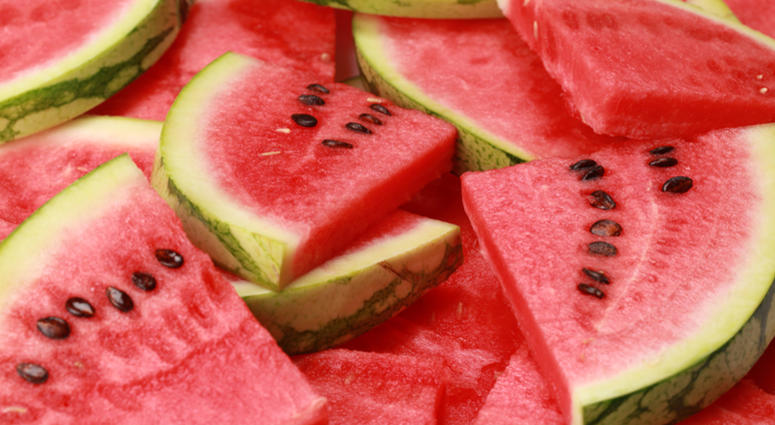 Close-up of fresh slices of red watermelon