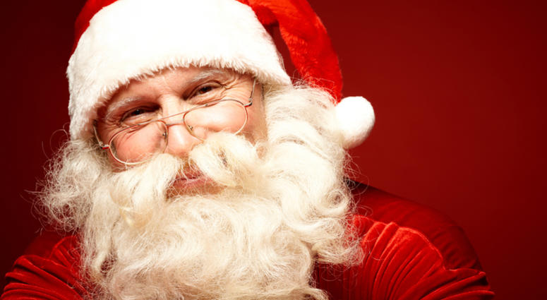 Positive Santa Claus in eyeglasses looking at camera with smile