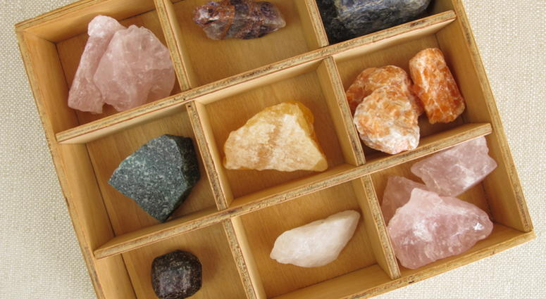Healing crystals in wooden box