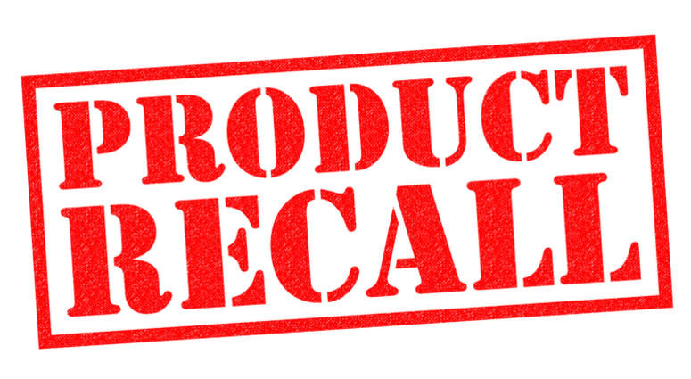 PRODUCT RECALL red Rubber Stamp over a white background.