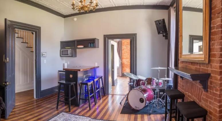 "The practice space and wet bar in ""The Pocket"""