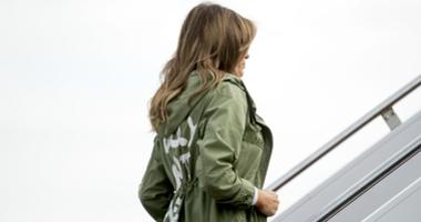 First lady Melania Trump boards a plane at Andrews Air Force Base, Md., Thursday, June 21, 2018, to travel to Texas.