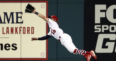 Harrison Bader makes a diving catch in the outfield.