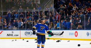 Jaden Schwartz bags hat-trick in Blues romp of Oilers