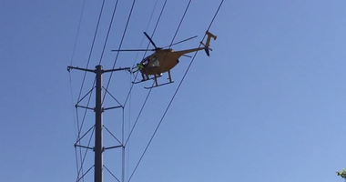 Ameren helicopter replaces power lines in the Webster Groves area.