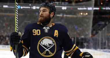 Buffalo Sabres center Ryan O'Reilly (90) celebrates after scoring a goal