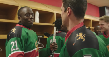 NHL forward Sidney Crosby meets members of the Kenya hockey team.