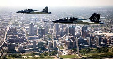 Two Boeing T-X jets over the St. Louis Arch