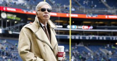Los Angeles Rams owner Stan Kroenke watches pregame warmups against the Seattle Seahawks at CenturyLink Field.
