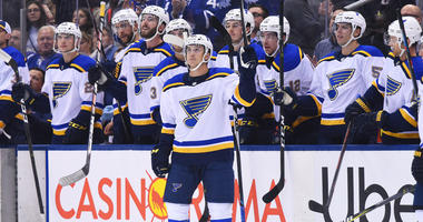 St. Louis Blues bench.