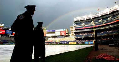 A general view as police officers on the field at Yankee Stadium.