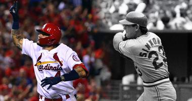 St. Louis Cardinals catchers Yadier Molina and Ted Simmons.
