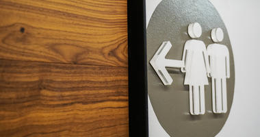 A unisex bathroom sign, good for highlighting transgender bathroom issue or rights.
