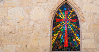 Gothic style church window with stained glass