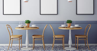 Mock up posters with retro hipster cafe restaurant interior background