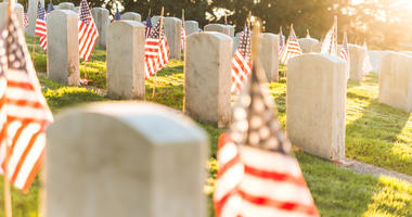 National Cemetery with a flag on Memorial day in Washington,Usa..