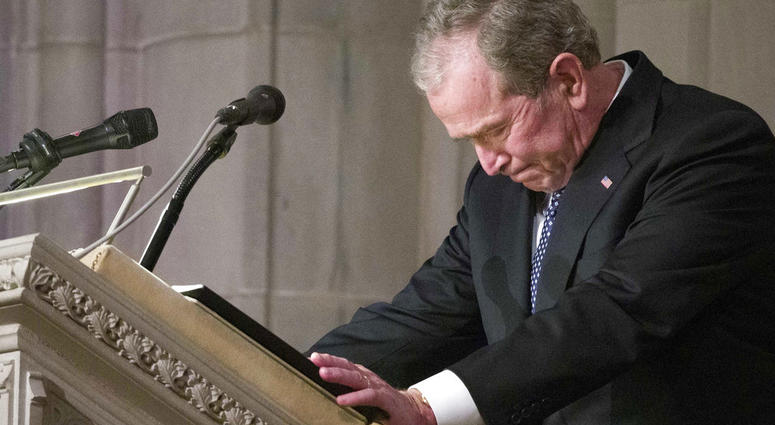 ormer President George W. Bush becomes emotional as he speaks at the State Funeral for his father, former President George H.W. Bush, at the National Cathedral,