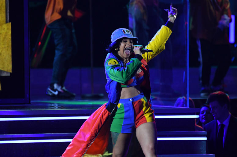 Cardi B performs with Bruno Mars at the GRAMMY Awards