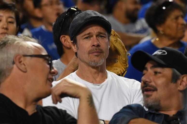 Apr 10, 2018; Los Angeles, CA, USA; Actor Brad Pitt attends the game between the Los Angeles Dodgers and the Oakland Athletics at Dodger Stadium.