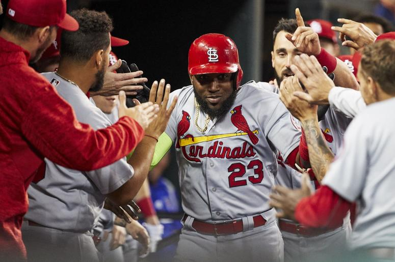 Sep 7, 2018; Detroit, MI, USA; St. Louis Cardinals left fielder Marcell Ozuna (23) is congratulated by teammates after he hits a home run in the fourth inning against the Detroit Tigers at Comerica Park.