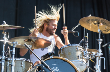 Drummer Taylor Hawkins of Foo Fighters perform as Chevy Metal at Douglas Park during Riot Fest Music Festival