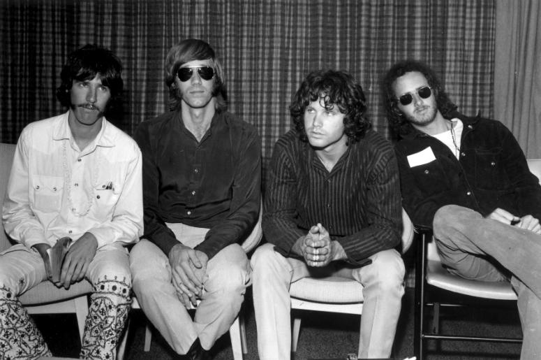 The Doors during a press conference at Heathrow Airport, London in 1968