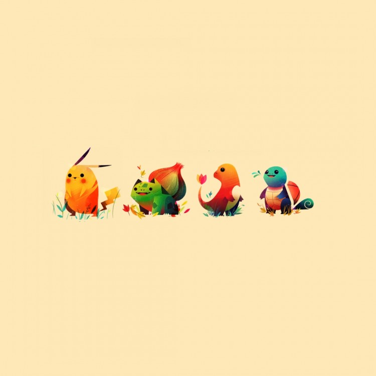 Pokemon_minimalistic_bulbasaur_pikachu_squirtle_sepia_backgrounds_charmander_starter_1920x1080