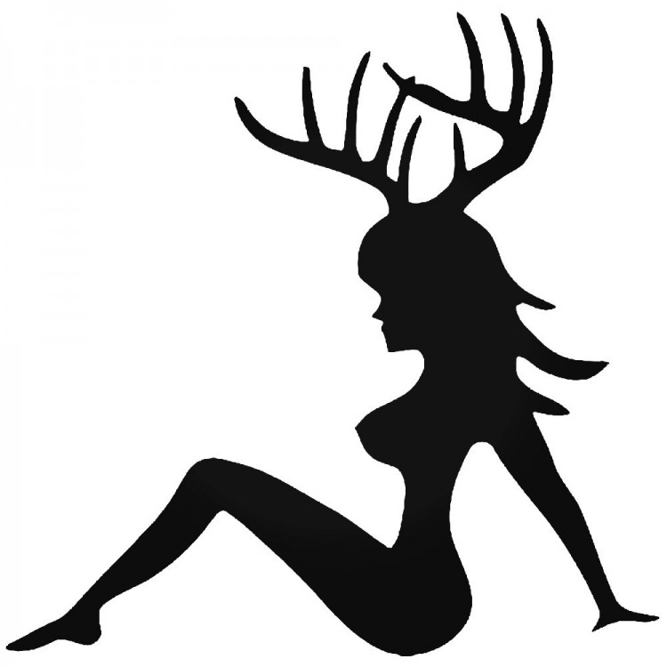 Sexy-Girl-Deer-Buck-Antlers-Hunting-Vinyl-Decal-Sticker