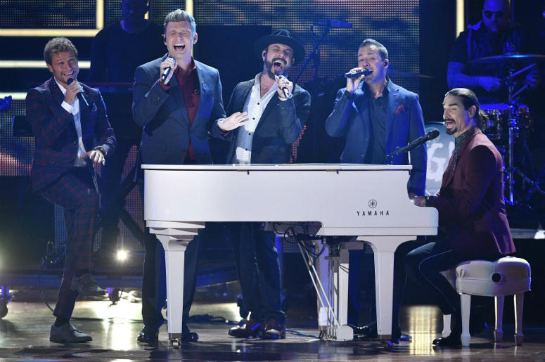"""Oct 18, 2017; Nashville, TN; Backstreet Boys honor 2017 CMT Artists of the Year Florida Georgia Line by performing their song, \""""Holy,\"""" during the show at Schermerhorn Symphony Center."""