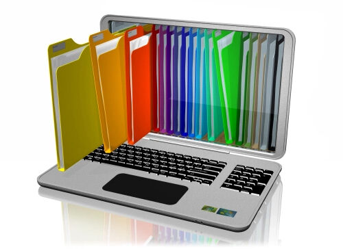 colorful folders coming out of a laptop screen