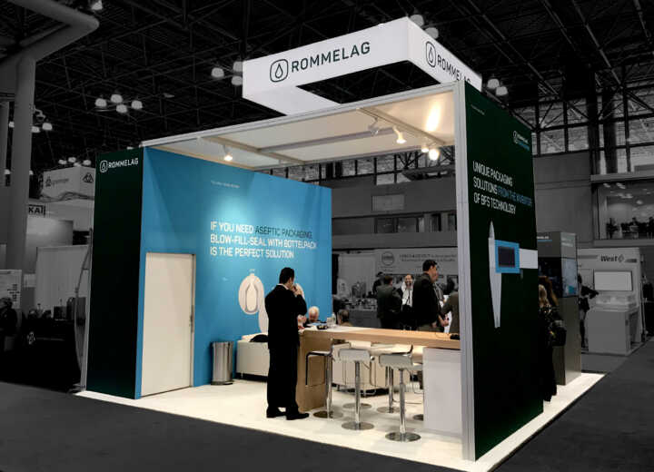 Rommelag exhibited in an endcap booth at INTERPHEX.