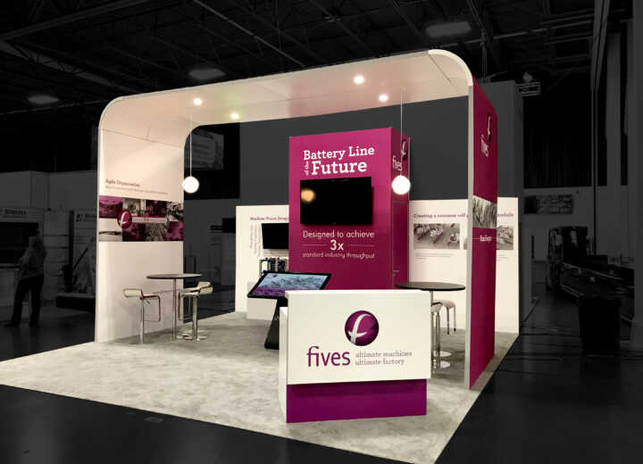 Fives exhibited in this stunning 20x20 split island booth at the Battery Show.