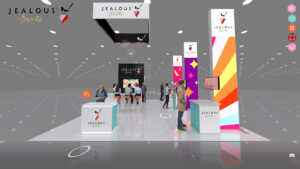 This is a front view of the 20x20 rogers virtual trade show booth.