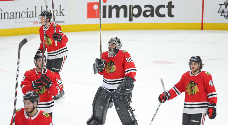Scott Foster, emergency goalie for Blackhawks