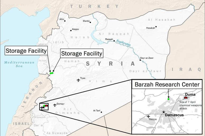 This image released by the Department of Defense, shows a map displaying areas targeted in U.S.-led airstrikes in Syria.