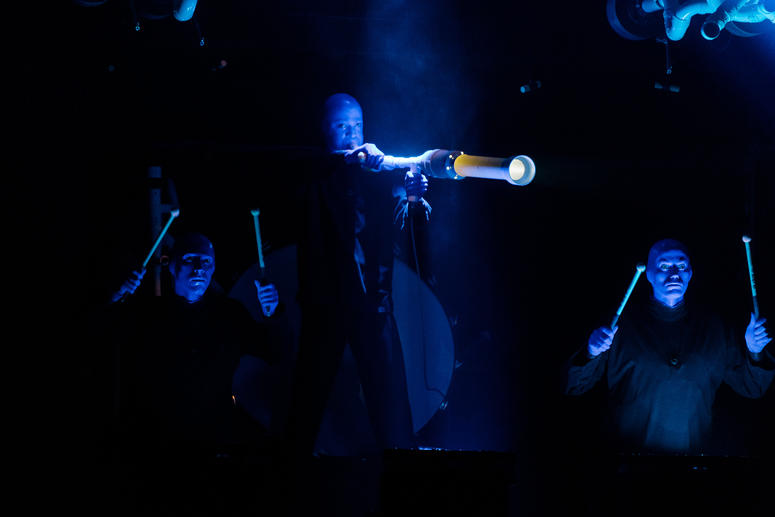 Blue Man Group perfoming