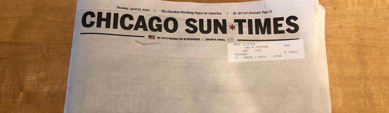 Sun-Times Leaves Newspaper Cover Blank Intentionally, Calls For Web Subscriptions
