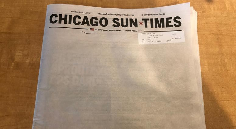 Sun Times Leaves Newspaper Cover Blank Intentionally Calls For Web