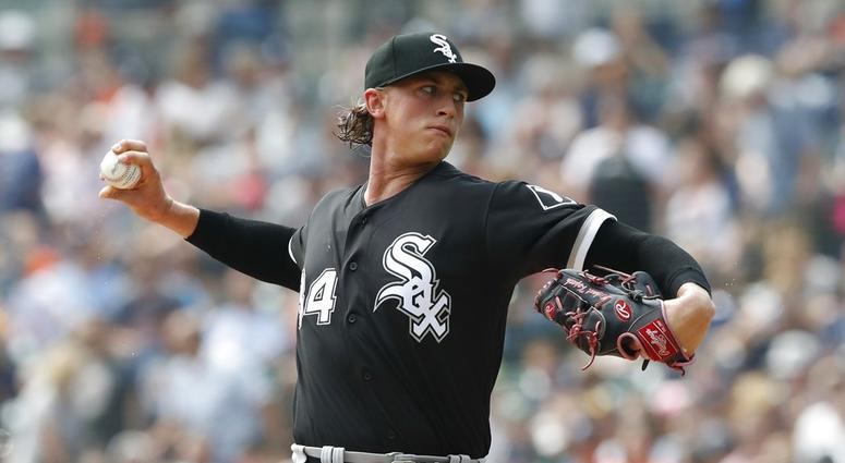 Chicago White Sox starting pitcher Michael Kopech throws during the first inning of a baseball game against the Detroit Tigers, Sunday, Aug. 26, 2018, in Detroit. (AP Photo/Carlos Osorio)