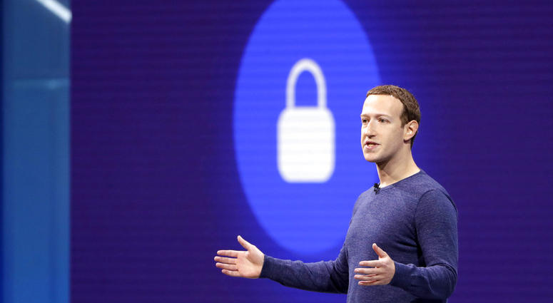 ILE- In this May 1, 2018, file photo, Facebook CEO Mark Zuckerberg makes the keynote speech at F8, Facebook's developer conference in San Jose, Calif. Facebook says it recently discovered a security breach affecting nearly 50 million user accounts. In a b