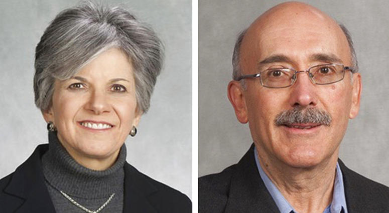 These undated photos released by the Peoria County Sheriff's Office show Susan Brill de Ramirez, left, and Antonio Ramirez Barron. A central Illinois sheriff says a search is underway for Brill de Ramirez, a Bradley University professor, and her husband w