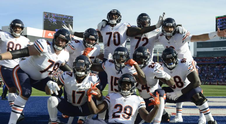 Nov 4, 2018; Orchard Park, NY, USA; The Chicago Bears offense poses after a rushing touchdown by running back Tarik Cohen (29) against the Buffalo Bills during the second quarter at New Era Field.