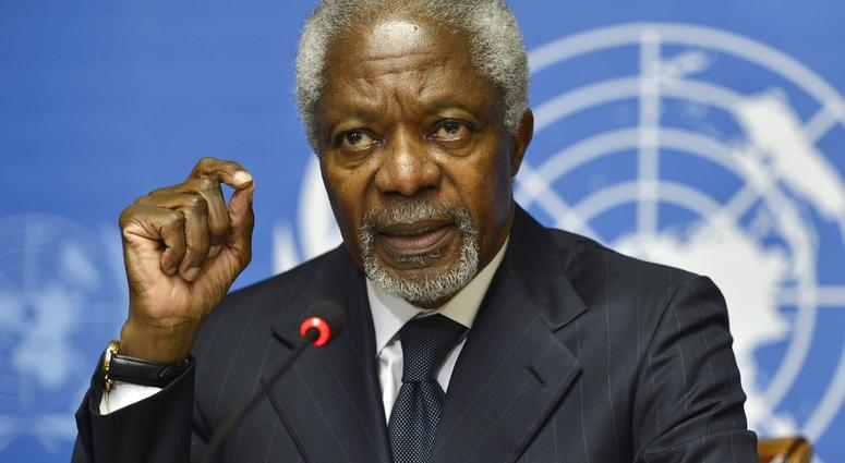 FILE - In this Thursday Aug. 2, 2012 file photo Kofi Annan speaks during a press briefing, at the European headquarters of the United Nations. UN, in Geneva, Switzerland.