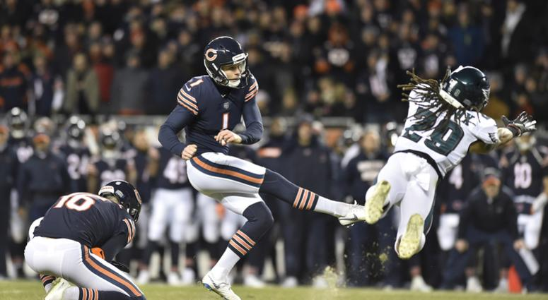 Jan 6, 2019; Chicago, IL, USA; Chicago Bears kicker Cody Parkey (1) kicks a field goal against the Philadelphia Eagles in the first half a NFC Wild Card playoff football game at Soldier Field. Mandatory Credit: Quinn Harris-USA TODAY Sports