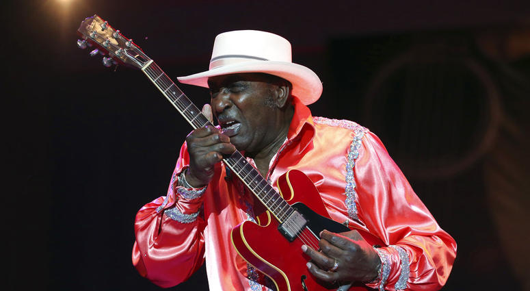 """In this Sunday, June 9, 2013 photo, Eddy """"The Chief"""" Clearwater performs with the Chicago Blues Old School, New Millennium, during the Chicago Blues Festival at the Petrillo Music Shell, in Grant Park, in downtown Chicago."""