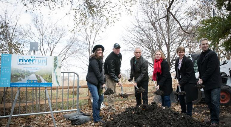 Mayor Rahm Emanuel breaks ground on a new river run biking and running path on the North Side.