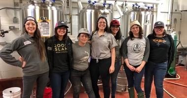 """Women from a handful of local breweries are gathered in a room at Goose Island on West Fulton, collaborating on a beer they're calling """"Women of the House."""""""