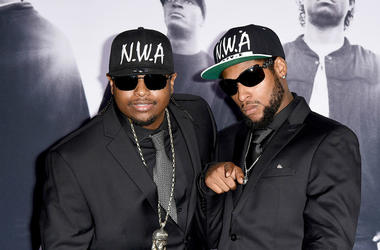 Eric Wright, Jr., (L) and his brother Derrek Wright, sons of rapper Eazy-E arrive at the premiere of Universal Pictures and Legendary Pictures' 'Straight Outta Compton' at the Microsoft Theatre on August 10, 2015 in Los Angeles, California.