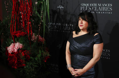 E.L. James poses during a photocall for the world premiere of 'Fifty Shades Freed