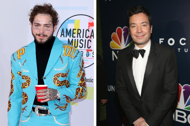 ost Malone at the 2018 American Music Awards at the Microsoft Theatre on October 9, 2018 in Los Angeles, California. / TV personality Jimmy Fallon attends the Universal, NBC, Focus Features, E! Entertainment Golden Globes after party sponsored by Chrysler